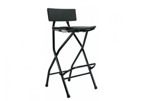 Black Stools with Back Rest set of 10 with Rack